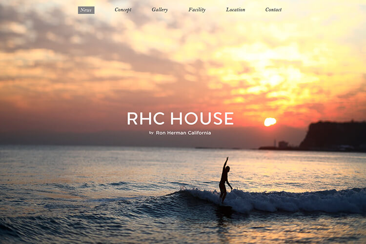 RHC HOUSE by Ron Herman Californiaのwebデザイン